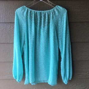 Jessica Simpson Tops - Jessica Simpson aqua sheer peasant blouse size L